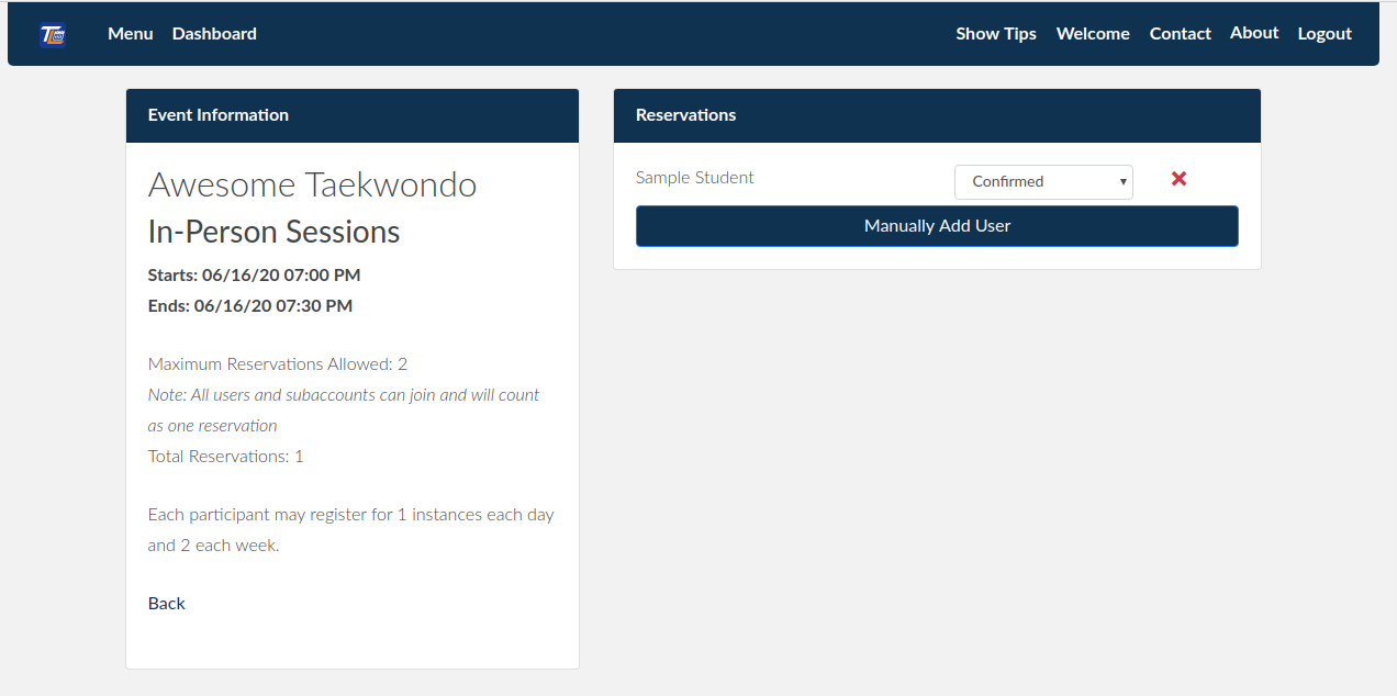 Reservations allow signup control and management